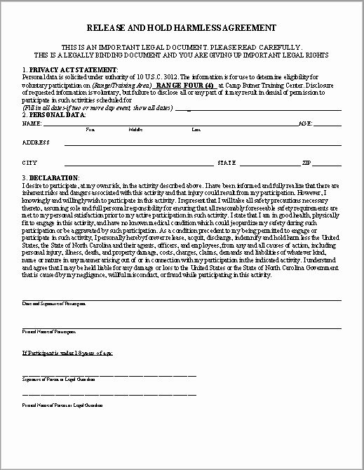 Hold Harmless Agreement Template Free Best Of 43 Free Hold Harmless Agreement Templates Ms Word and Pdfs