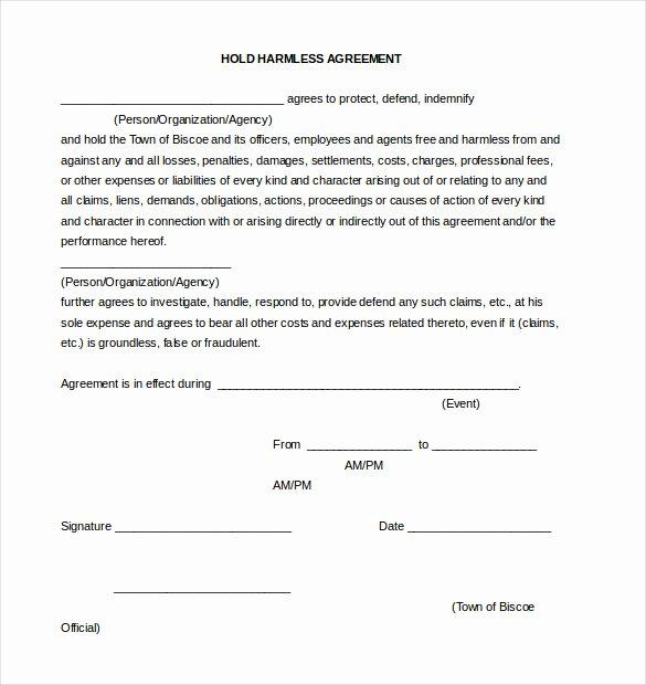 Hold Harmless Agreement Template Free Elegant Hold Harmless Agreement Template – 14 Free Word Pdf