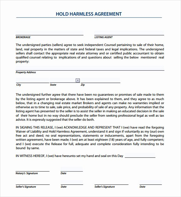 Hold Harmless Agreement Template Free Elegant Sample Hold Harmless Agreement 10 Documents In Pdf Word