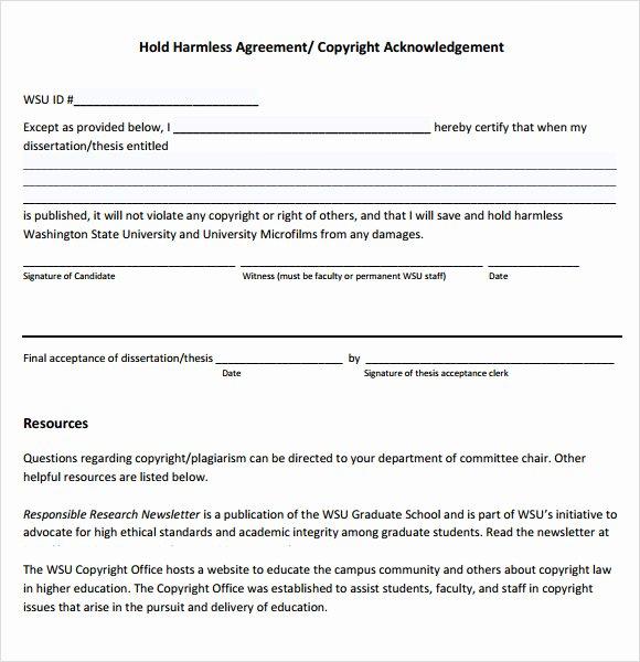 Hold Harmless Agreement Template Free Elegant Sample Hold Harmless Agreement 10 Documents In Pdf Word