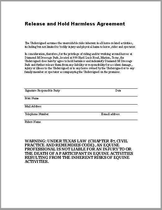 Hold Harmless Agreement Template Free Fresh 43 Free Hold Harmless Agreement Templates Ms Word and Pdfs