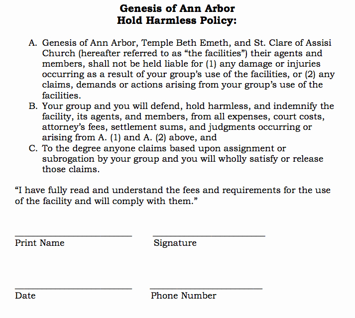 Hold Harmless Agreement Template Free Lovely Hold Harmless Agreement Template