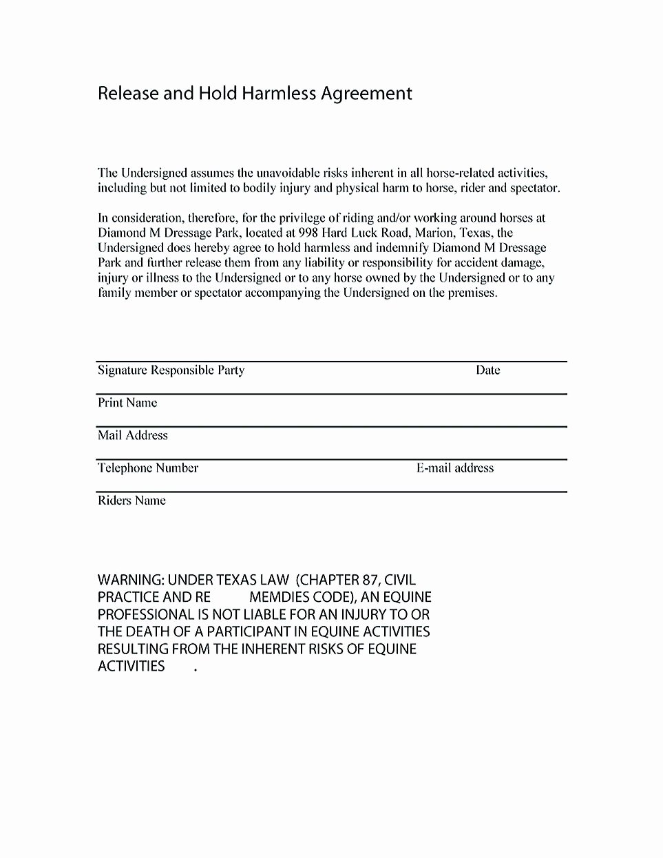Hold Harmless Agreement Template Free Lovely Making Hold Harmless Agreement Template for Different Purposes