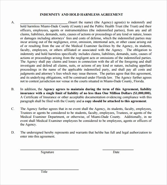 Hold Harmless Agreement Template Free Luxury Free 32 Sample Hold Harmless Agreement Templates In
