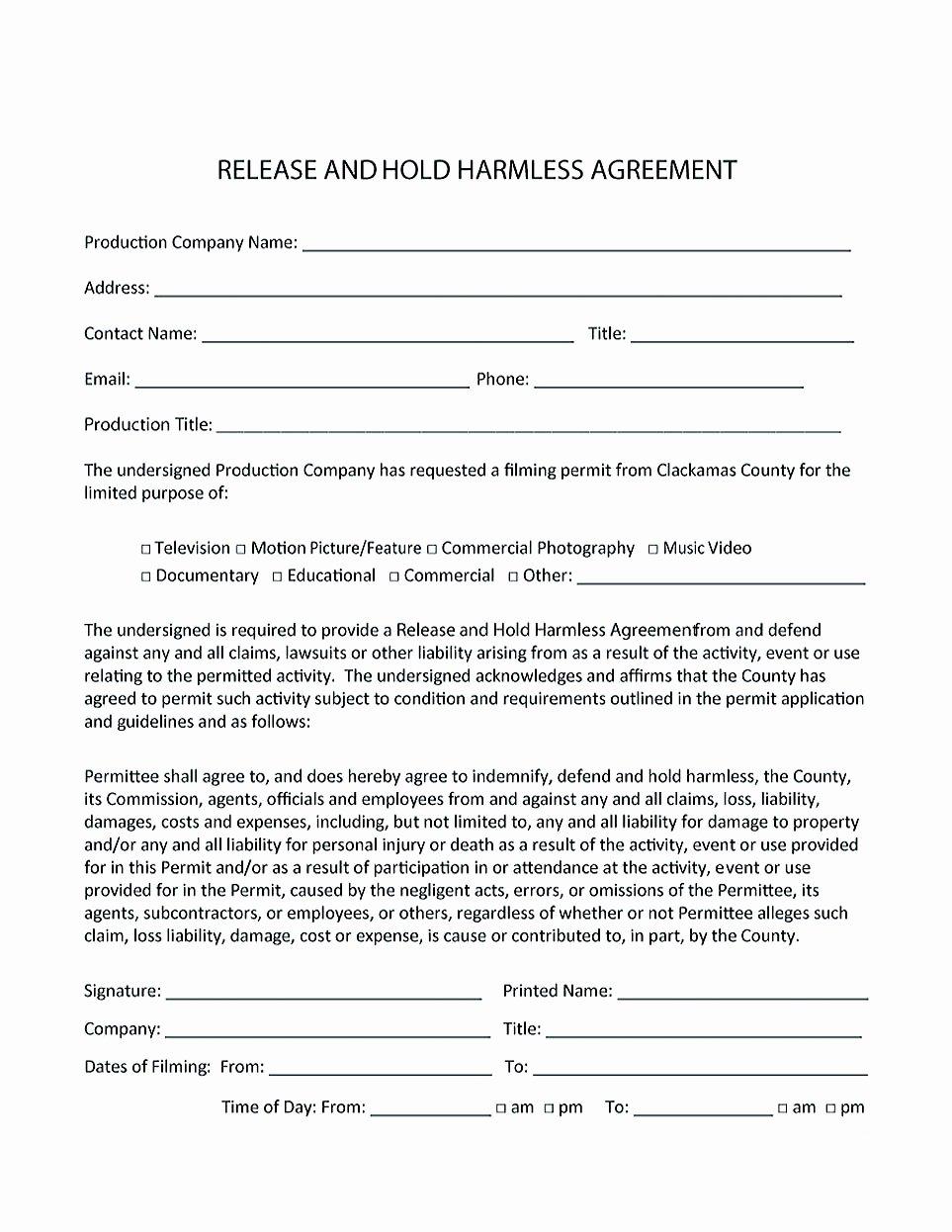 Hold Harmless Agreement Template Free Luxury Making Hold Harmless Agreement Template for Different Purposes