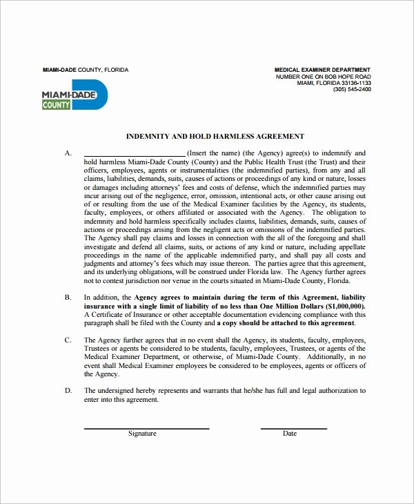 Hold Harmless Agreement Template Free Unique Sample Indemnity Agreement 12 Documents In Word Pdf