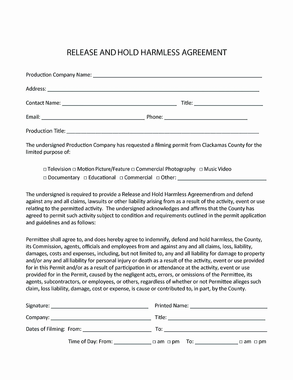 Hold Harmless Letter Template Awesome Making Hold Harmless Agreement Template for Different Purposes