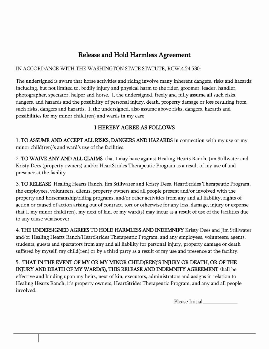 Hold Harmless Letter Template Best Of 40 Hold Harmless Agreement Templates Free Template Lab