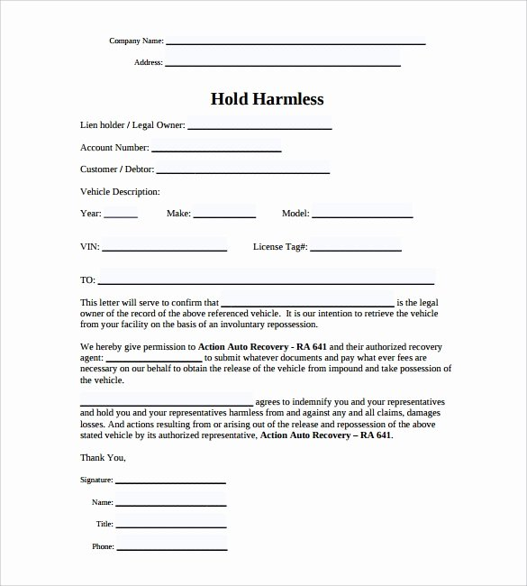 Hold Harmless Letter Template Elegant Hold Harmless Agreement 11 Download Documents In Pdf