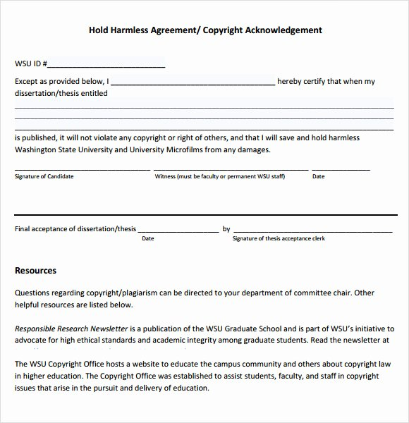 Hold Harmless Letter Template Elegant Hold Harmless Agreement 9 Free Samples Examples format