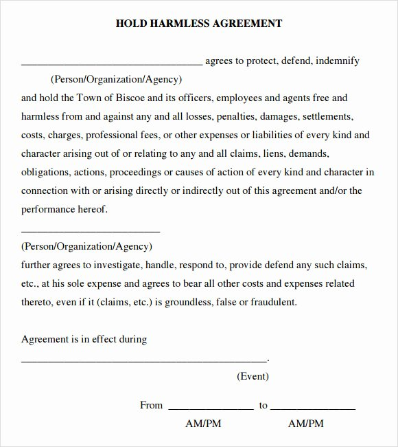 Hold Harmless Letter Template Elegant Sample Hold Harmless Agreement 10 Documents In Pdf Word