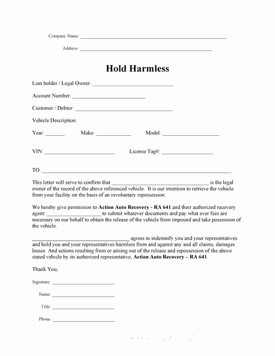 Hold Harmless Letter Template Fresh 40 Hold Harmless Agreement Templates Free Template Lab