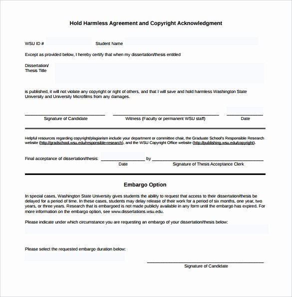 Hold Harmless Letter Template Fresh Hold Harmless Agreement 11 Download Documents In Pdf