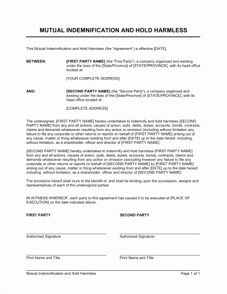 Hold Harmless Letter Template Fresh Hold Harmless Agreement Template Free Download