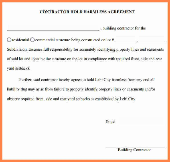 Hold Harmless Letter Template Inspirational 6 Hold Harmless Agreement Real Estate Sample