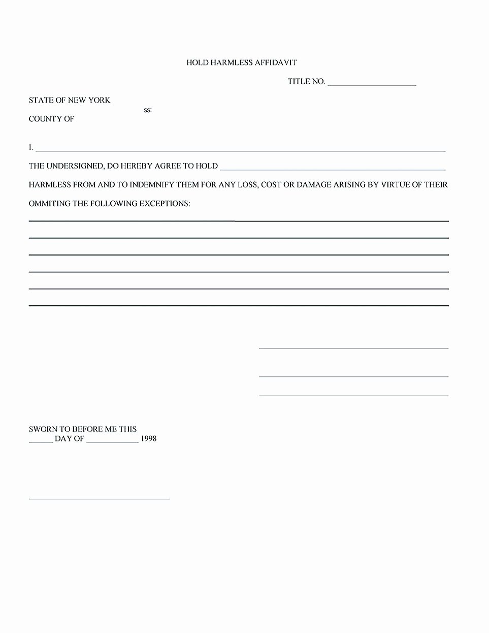 Hold Harmless Letter Template Luxury Making Hold Harmless Agreement Template for Different Purposes
