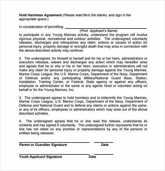 Hold Harmless Letter Template Luxury Sample Hold Harmless Agreement 10 Documents In Pdf Word