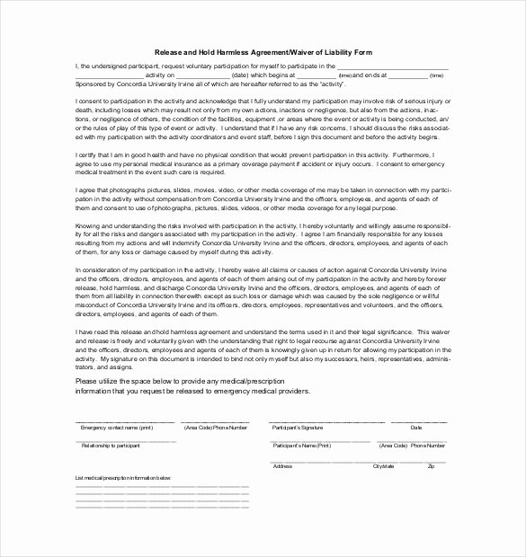 Hold Harmless Letter Template New Hold Harmless Agreement form