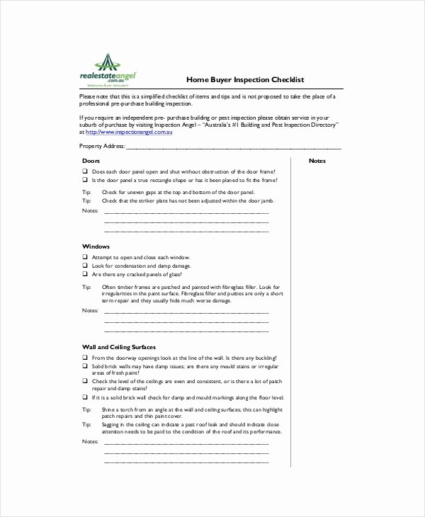 Home Buyer Checklist Template Best Of House Inspection Checklist 17 Pdf Word Download