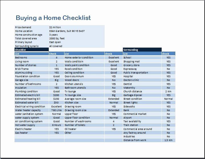 Home Buyer Checklist Template Fresh Buying A Home Checklist Template for Ms Word
