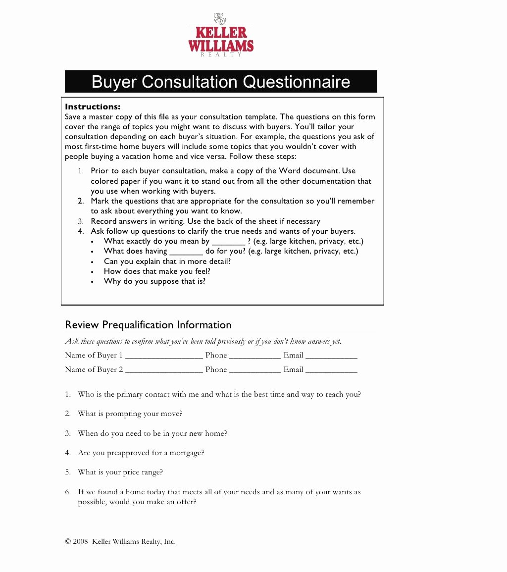 Home Buyer Checklist Template Fresh Er Consultation Questionnaire by Conord Consulting