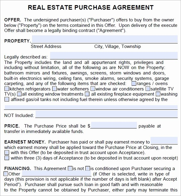 Home Purchase Agreement Template Fresh Real Estate Purchase Agreement 7 Free Pdf Download