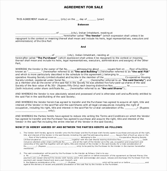 Home Purchase Agreement Template Fresh Sales Agreement Template 22 Word Pdf Google Docs