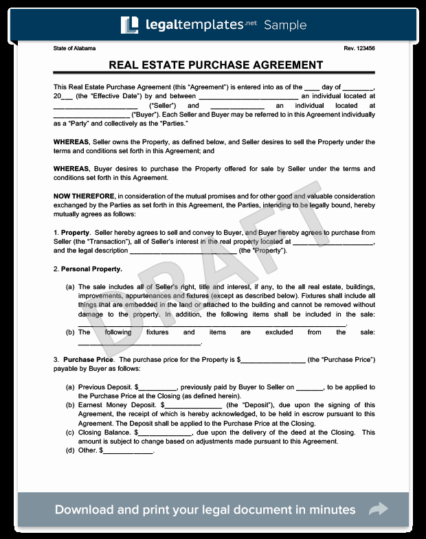 Home Purchase Contract Template Beautiful Real Estate Purchase Agreement