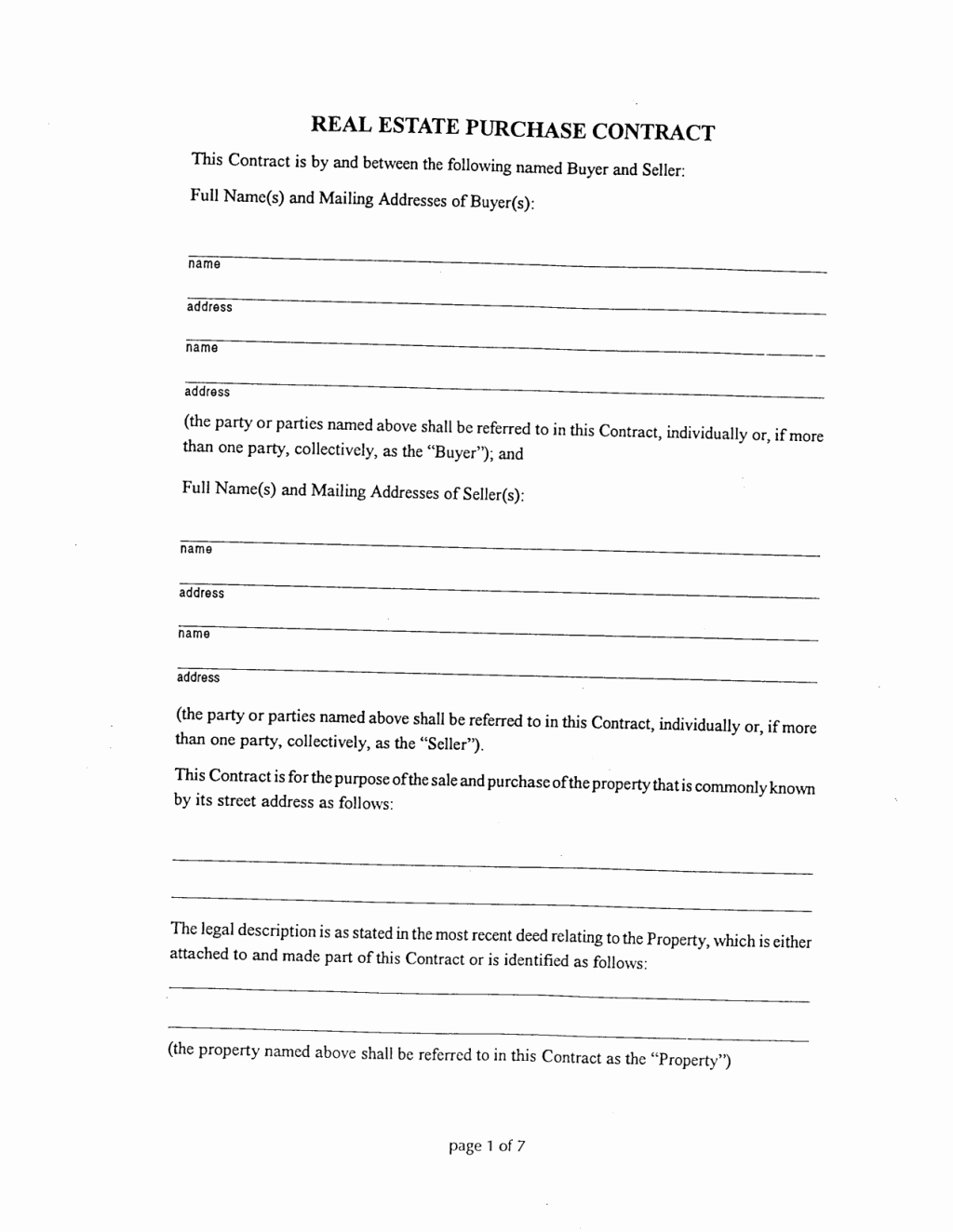 Home Purchase Contract Template Fresh Brilliant Real Estate Purchase Contract form Template