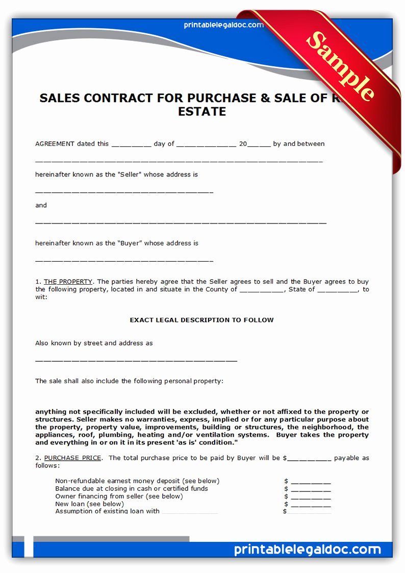 Home Purchase Contract Template Fresh Free Printable Contract to Sell Land Contract form