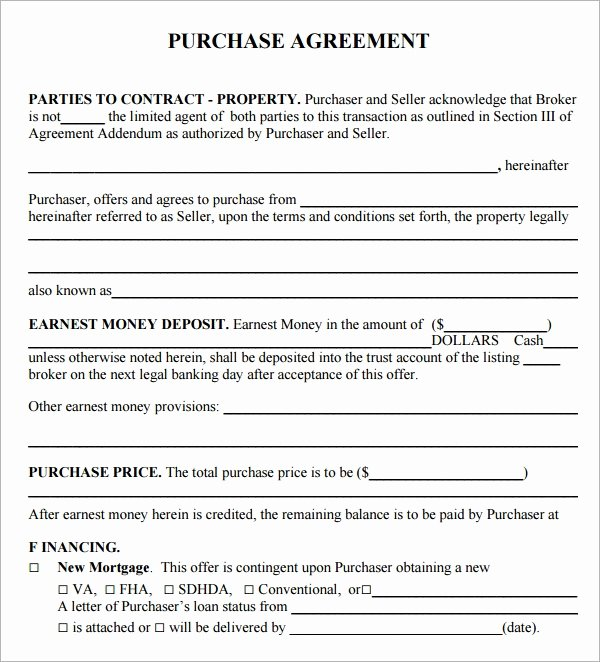 Home Purchase Contract Template Lovely Purchase Agreement 15 Download Free Documents In Pdf Word