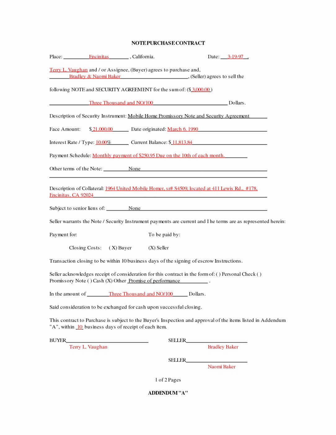 Home Purchase Contract Template New Mobile Home Purchase Agreement