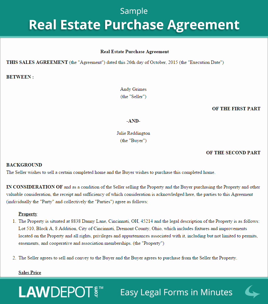 Home Purchase Contract Template Unique Real Estate Purchase Agreement United States form Lawdepot