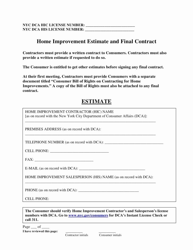 Home Repair Estimate Template Lovely 7 Home Repair Contract Templates Docs Word Pages