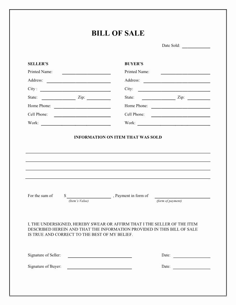 Horse Bill Of Sale Template Beautiful Best S Of Easy Printable Bill Sale Free