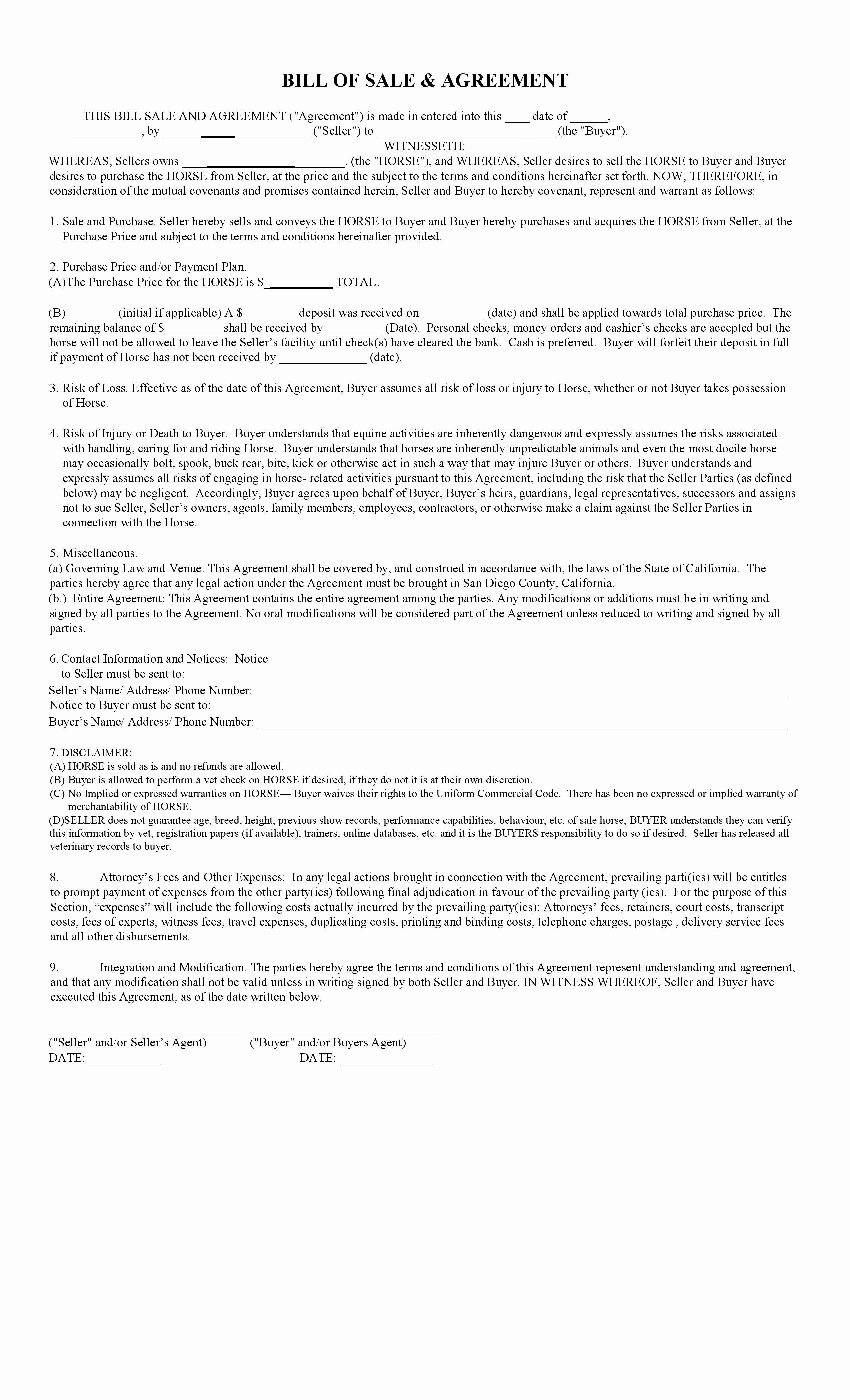 Horse Bill Of Sale Template Fresh Free California Horse Bill Of Sale & Agreement Template