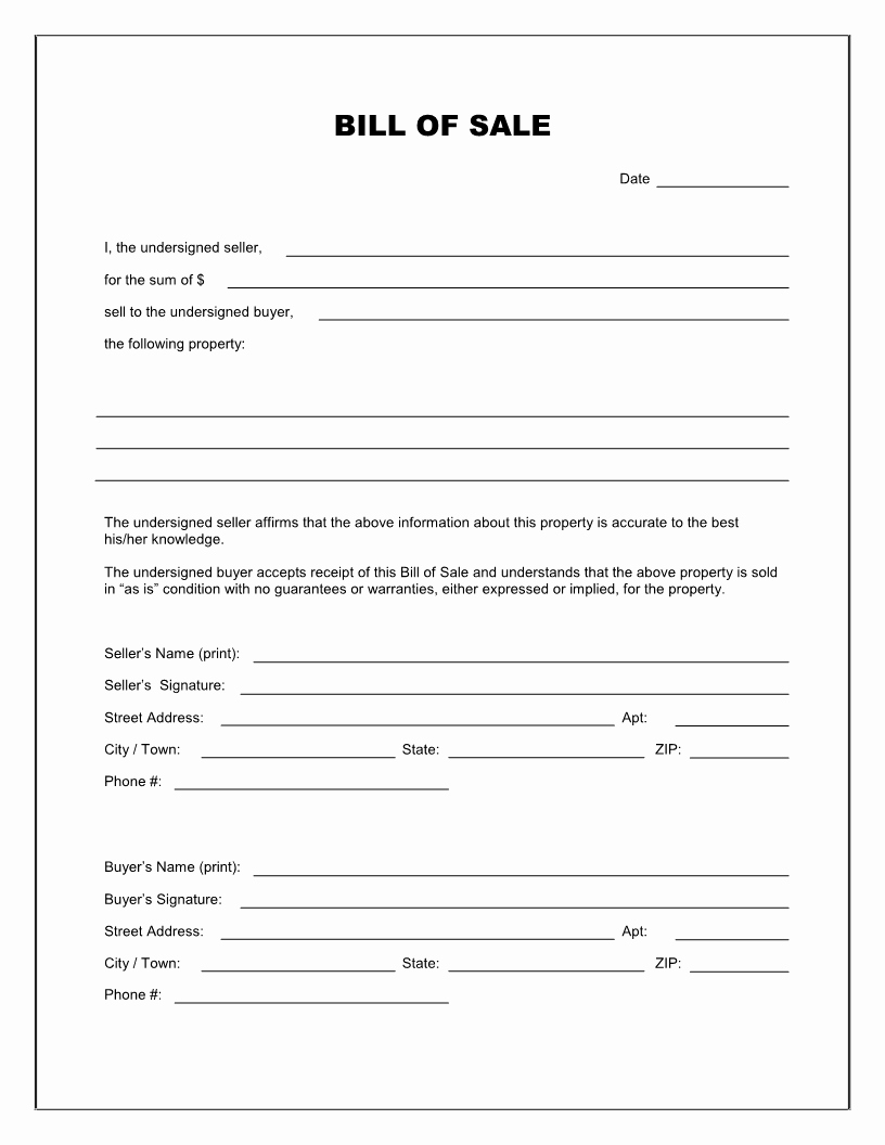 Horse Bill Of Sale Template Inspirational Best S Of Easy Printable Bill Sale Free