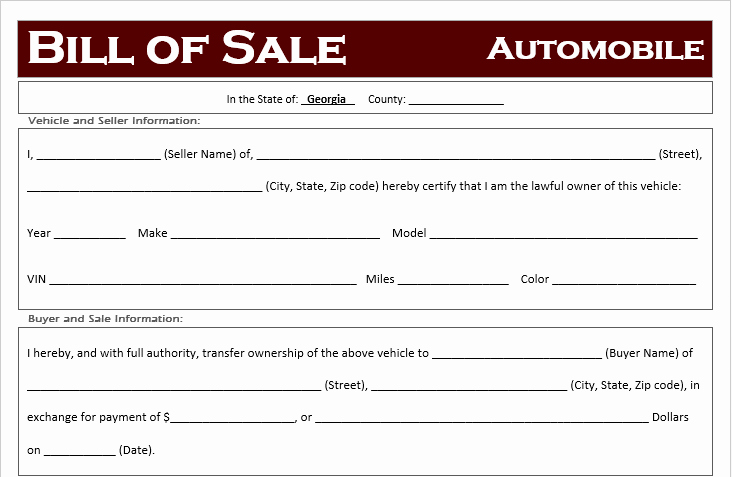 Horse Bill Of Sale Template Inspirational Free Georgia Car Bill Of Sale Template F Road Freedom