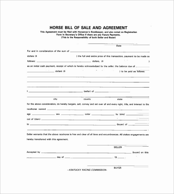Horse Bill Of Sale Template Inspirational Horse Bill Of Sale – 8 Free Sample Example format