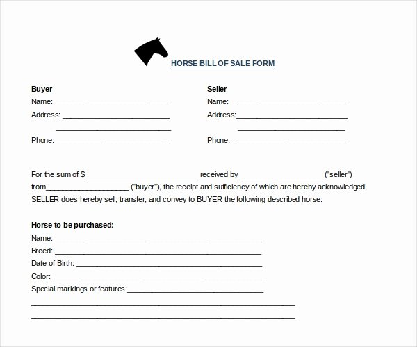 Horse Bill Of Sale Template Unique Free 7 Sample Horse Bill Of Sale forms In Pdf