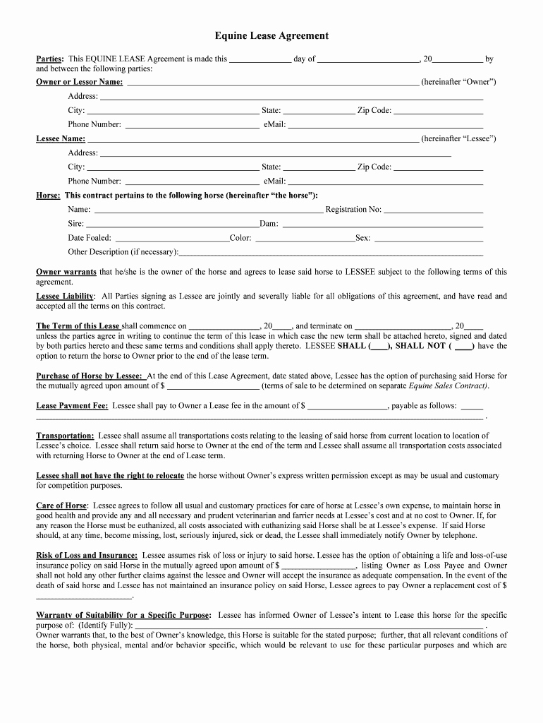 Horse Lease Agreement Template Beautiful Horse Lease Agreement Fill Line Printable Fillable