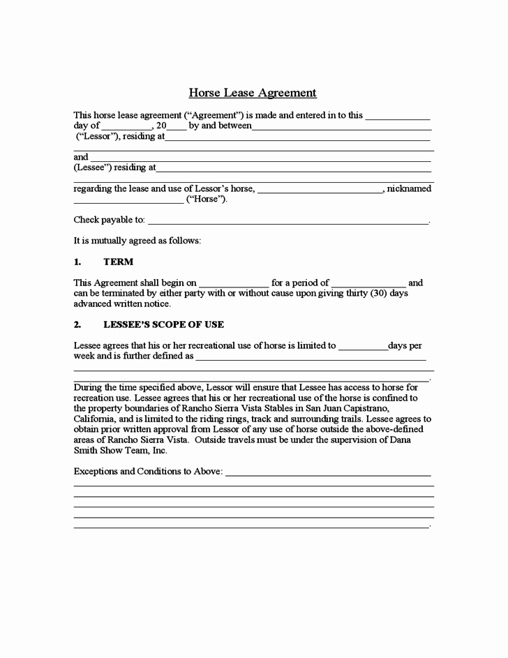 Horse Lease Agreement Template Beautiful Sample Horse Lease Agreement Free Download