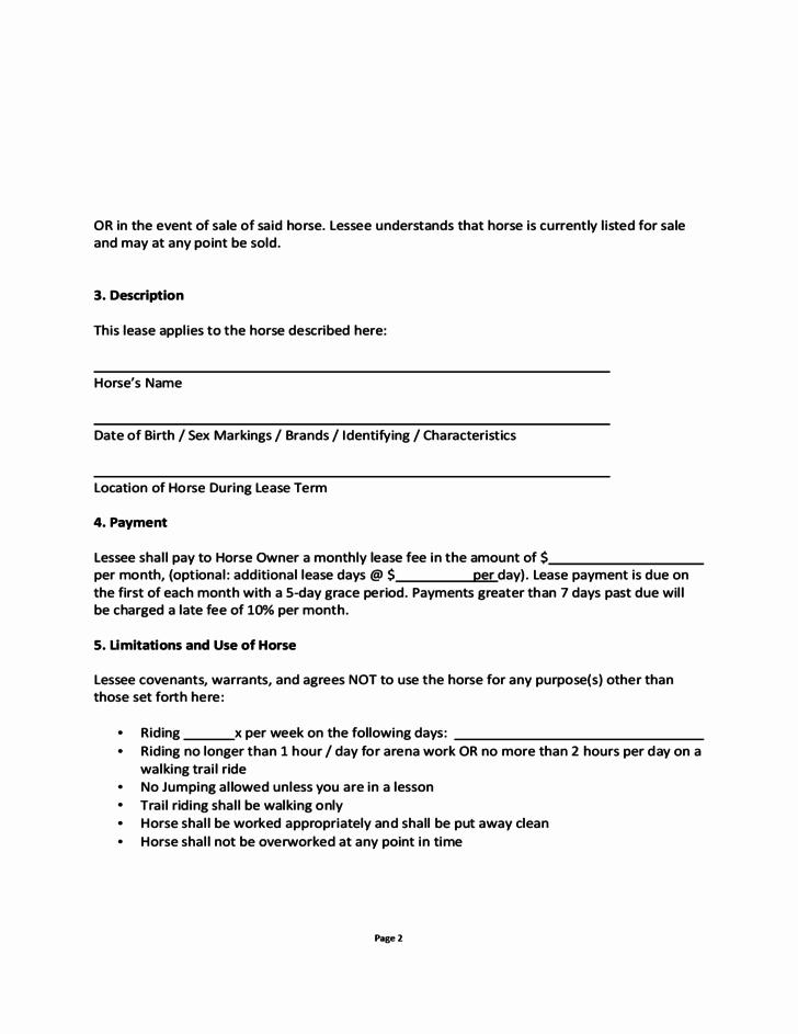 Horse Lease Agreement Template Best Of Blank Horse Lease Agreement Free Download