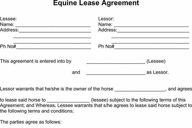Horse Lease Agreement Template Fresh 3 Horse Lease Agreement Free Download