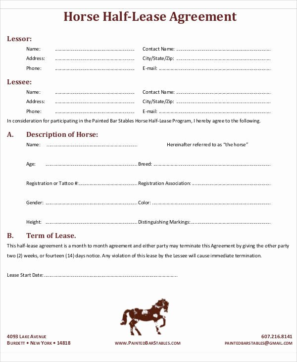 Horse Lease Agreement Template Fresh 49 Lease Agreements In Pdf