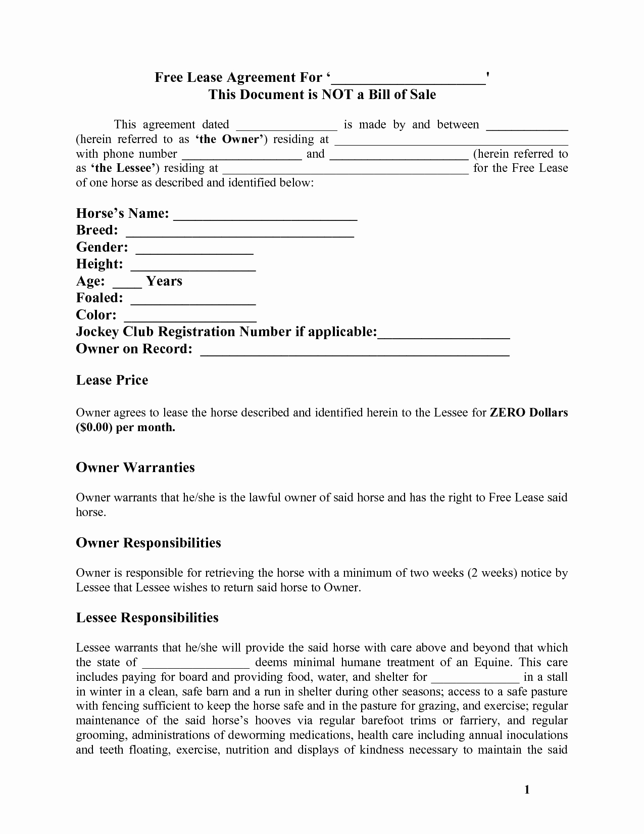Horse Lease Agreement Template Fresh Horse Template Printable