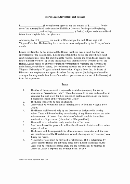 Horse Lease Agreement Template Lovely top 18 Horse Lease Agreement Templates Free to In