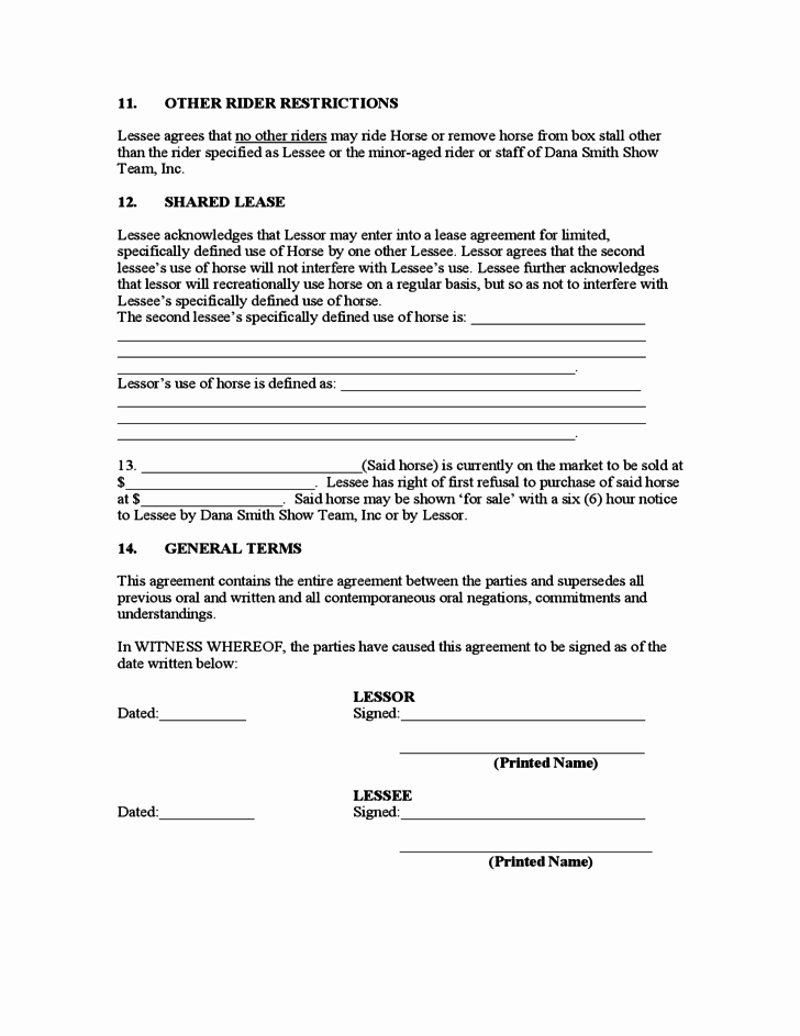 Horse Lease Agreement Template Unique Sample Horse Lease Agreement Free Download