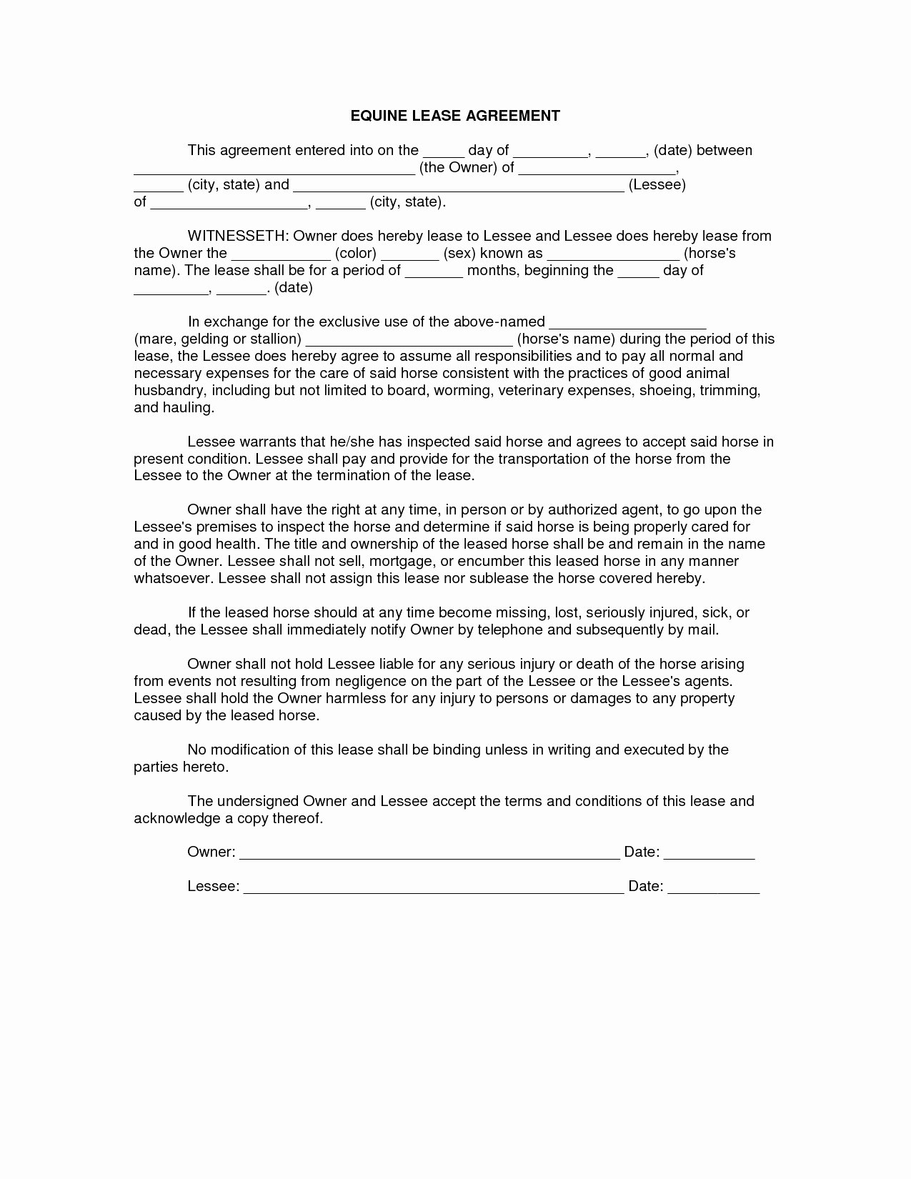 Horse Lease Agreement Templates Beautiful Equine Lease Agreement