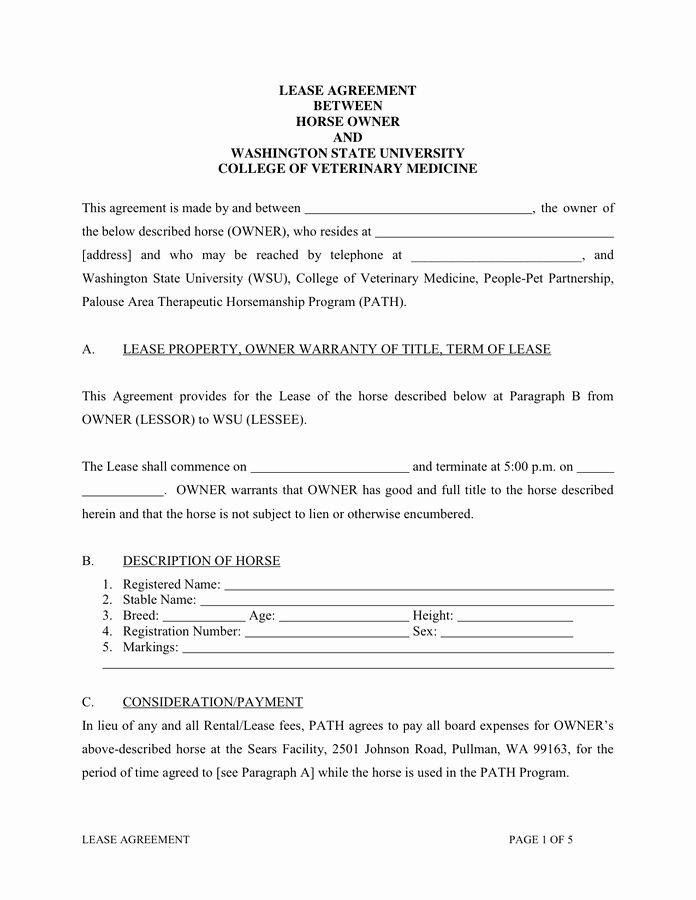 Horse Lease Agreement Templates Best Of Lease Agreement In Word and Pdf formats